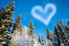 Forest with blue sky and a cloud shaped heart for Valentine's Da. Beautiful winter picture with a heart-shaped cloud in a blue sky, perfect valentines day Stock Image