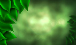 Forest bokeh. Illustration of a abstract forest with focus of green leaves closeup and slightly out of focus leaves Royalty Free Stock Images
