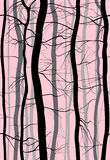 Forest Branches seamless pattern. Fog in the morning spring, winter bare trees vector illustration. Royalty Free Stock Image
