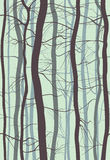 Forest Branches seamless pattern. Fog in spring, winter bare trees vector illustration. Stock Image