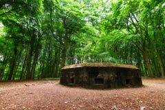 Forest bunker. WW2 bunker in the forest on the Grebbeberg near Wageningen in the Netherlands stock image