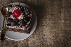 Forest Cake negro que remata el oro del color de la cereza, del chocolate y de la cuchara imagen de archivo libre de regalías