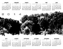 2014 forest calendar. High key view of leafy forest on 2014 calendar stock illustration