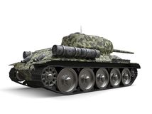 Forest camo old military tank - back view royalty free illustration