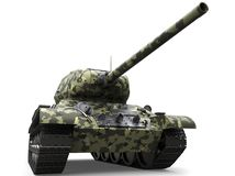 Forest camo old military tank - low angle closeup shot vector illustration