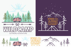 Forest camp linear vector illustration with tent, mountains, trees, cloud, sun. Camping travel tourism creative graphic. Concept for your design,.Vintage vector illustration