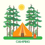 Forest camp. Tent with a campfire in forest. Vector illustration stock illustration