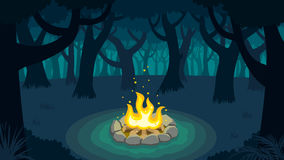 Forest Campfire Stock Photo