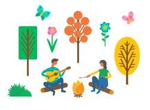 Forest Camping, coppia vicino a fuoco di accampamento con la chitarra illustrazione di stock