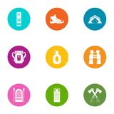 Forest camping icons set, flat style. Forest camping icons set. Flat set of 9 forest camping vector icons for web isolated on white background Stock Photos