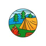 Forest camping logo badge. Tent with bonfire at mountain pine forest illustration for outdoor activity concept. Simple flat cartoon style vector design royalty free illustration
