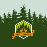 Forest camping logo emblem or label on background with green fir-trees forest.. Design concept for summer travel, tourism and outdoor activity. Vector Royalty Free Stock Photo