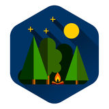 Forest camping outdoor. Vector illustration Royalty Free Stock Image