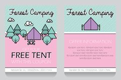 Forest camping themed gift voucher template Royalty Free Stock Photos