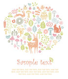Forest card. Colorful invitation card with forest ornament Stock Photos