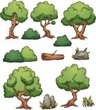 Forest cartoon trees and bushes. Cartoon forest trees, bushes, hedges and rocks. Vector clip art illustration with simple gradients. Each on a separate layer vector illustration