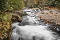 Forest Cascade. A beautiful cascade along a creek in North Carolina in autumn on a rainy day royalty free stock photos