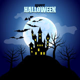 Forest with castle and moon Halloween background Royalty Free Stock Image
