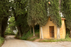 Forest chapel in Tuscany Stock Images