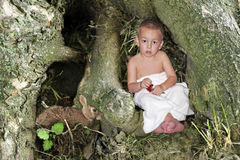 Forest Child. A boy child sitting in the root of a tree stock photo