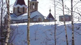 Forest church tilt stock footage