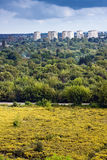 Forest city. Apartment houses, green forest and yellow meadow background Stock Images
