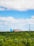 Forest and city on horizon under cloudy blue sky. Green forest and city on horizon under cloudy blue sky in summer day Stock Images
