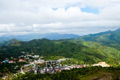 Forest City. The village is surrounded by forests and mountains Stock Photos