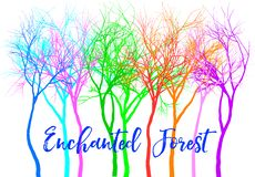 Forest with colorful trees, vector. Enchanted mystery forest with bright colorful trees, vector illustration over white background stock illustration