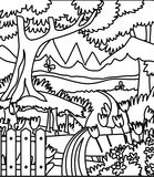Forest coloring page. Hand drawn forest garden coloring page for kids Royalty Free Stock Photos