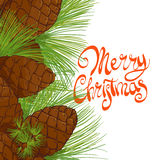 Forest cones and needles. Christmas tree pine cones and needles with the words Merry Christmas Stock Photo
