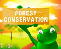 Forest Conservation Sign Shows Natural bevarande 3d Illustrat vektor illustrationer