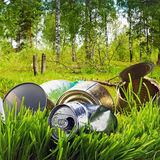 Forest contaminated waste and garbage Royalty Free Stock Image