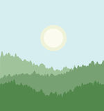 Forest with a cool sun in the background. A cooler morning with the sun just rising over the tree line. Depth shown by desaturation of the forest.  Illustration Stock Images