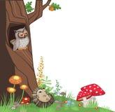 Forest Corner Design Element con l'illustrazione del fumetto dei funghi e di Owl Hedgehog Fotografia Stock