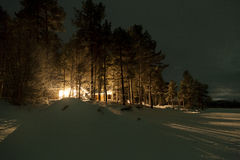 Forest cottage in the evening, Lapland, FInland Royalty Free Stock Photography