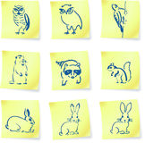 Forest creatures drawings on post it notes Stock Image