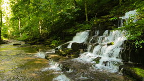 Forest creek and waterfall. The Shaker Fulling Mill at Pleasant Hill, Kentucky stock video footage