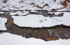 Forest creek in winter. Ice and water turnaround. lovely background Stock Image