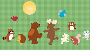Forest critters. Vector set of funny cartoon forest animals Stock Photography