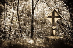 Forest crucifix Stock Photos