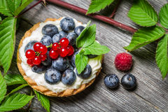 Forest cupcake with berry fruits. Closeup of Forest cupcake with berry fruits Royalty Free Stock Image