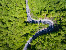 Forest curved road with trucks and cars on it. Aerial view from. A drone Stock Photo