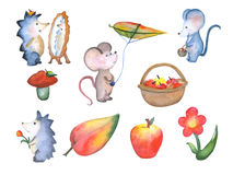 Forest cute little animals fall season watercolor illustration, hand painted nursery illustrations Royalty Free Stock Images