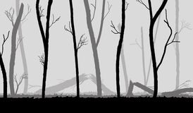 Forest in the dark mist, trees silhouettes Royalty Free Stock Image