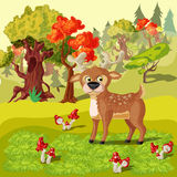 Forest Deer Cartoon Style Illustration Image libre de droits