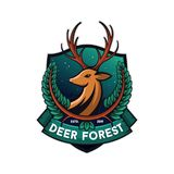 Forest deer illustration, white background vector illustration