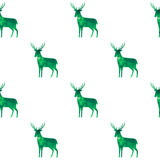 Forest deer silhouettes filled in green watercolor pattern Stock Photos