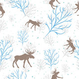 Forest deer and tree branch seamless pattern. Vector background Stock Photos