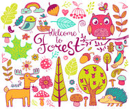 Forest design elements in doodle style Royalty Free Stock Photos
